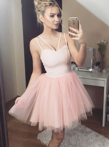 Charming Double Spaghetti Blush Pink Tulle Homecoming Dress OM294