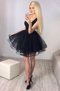 A-line Square Black Short Prom Dresses Tulle Pleated Homecoming Dress OM293