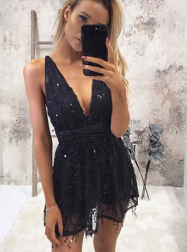Sparkly V-neck Sequins Navy Blue Short Homecoming Party Dress OM297