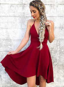 Spaghetti Straps V-neck Burgundy High Low Prom Homecoming Dress OM300