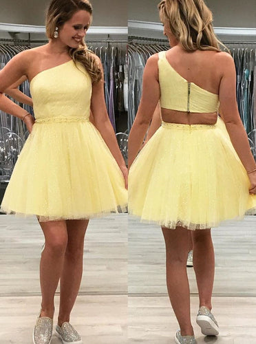Tulle One Shoulder Sparkly Homecoming Dress, Chic 8th Graduation Dress OM459