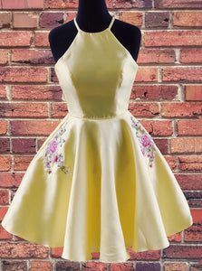 A-line Halter Yellow Homecoming Dress with Embroidered Pockets OM463