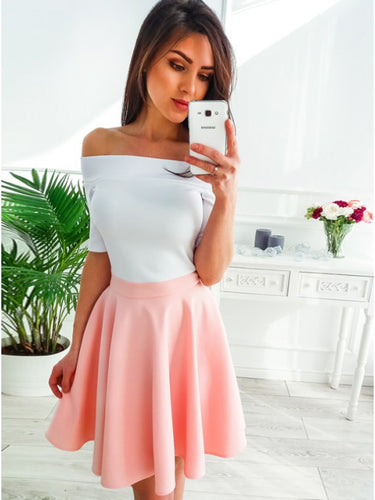 Off-Shoulder Short Sleeves Short Pink Homecoming Party Dress OM368