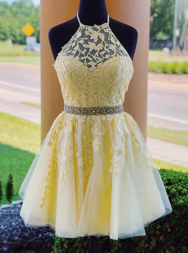 Tulle Lace Appliques Beading Short Homecoming Dress with Lace-Up OM462