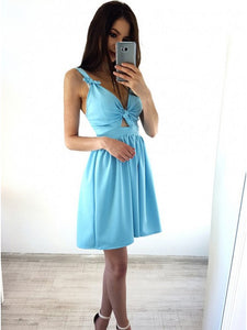 Cute A-Line V-Neck Ice Blue Short Homecoming Party Dress With Knot OM410