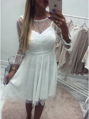 A-Line Round Neck Long Sleeves Lace Short Homecoming Dress OM370