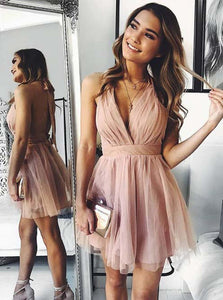 Simple Blush Homecoming Dress A-Line Backless Semi Formal Party Dress OM452