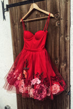 Spaghetti-straps Red Short Prom Dresses 3D Applique Homecoming Dress OM322