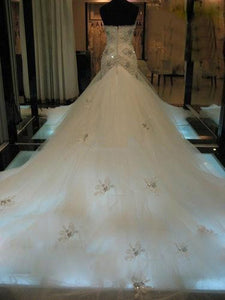 Sweetheart Trumpet Sleeveless Court Train Beading Tulle Mermaid Wedding Dresses OW143