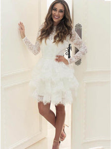 White Tiered A-Line Long Sleeve Little Black Dress, Lace Homecoming Dress OM125