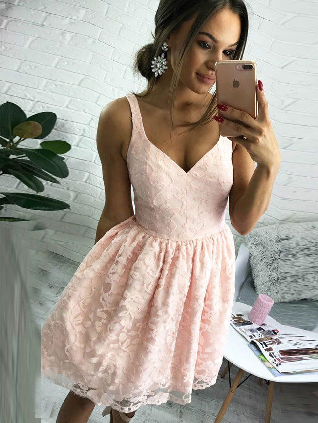 Pearl Pink Short/Mini A-Line V-Neck Short Lace Cocktail Party Dress, OC103
