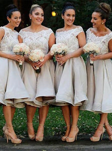Lace Off-the-Shoulder Knee-Length Grey Satin Bridesmaid Dresses OB371