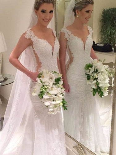 Sexy Mermaid V-neck Sweep/Brush Train Trumpet Lace Wedding Dresses OW144