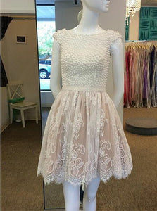 Cap Sleeves Ivory Bateau Lace Short Prom Dress With Pearls, Party Dress OC106
