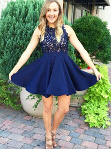 Dark Blue Satin Scalloped-Edge A-Line Lace Short Prom Dress, UK Sale OC124