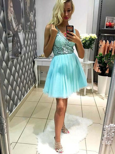 2018 Mint Green Tulle A-Line V-Neck Lace Short Prom Dress, OC125