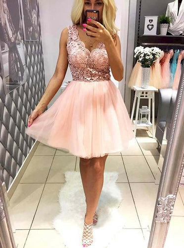 2018 Pink Tulle A-Line V-Neck Lace Short Prom Dress, Sweet 16 Dress, OC125