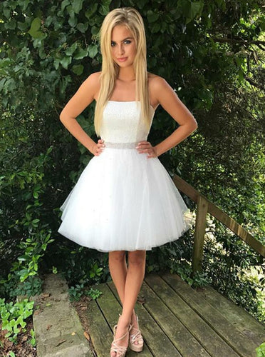 Cute A-Line Strapless Beading Waist Little White Dress, Tulle Birthday Party Dress OC126