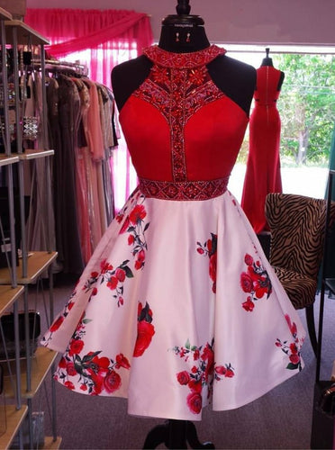 Red Pink A-Line Jewel Floral Print Satin Beading Short Prom Dress OC118