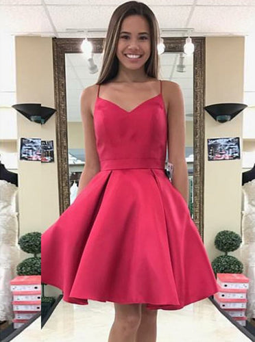 A-Line Spaghetti-straps Fuchsia Satin Bowknot Back Short/Mini Prom Dress OC119