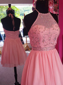 A-Line Halter Beading Pink Chiffon Short Prom Dress, Graduation Party Dress OC121