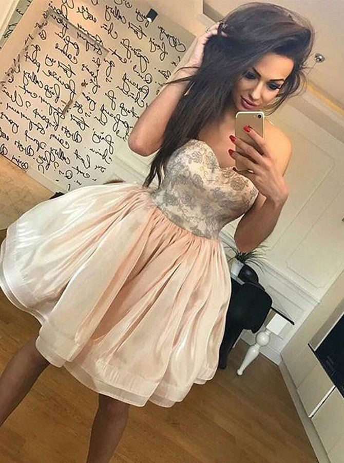 Chic Sweetheart Organza Short/Mini Prom Dress, A-Line Cocktail Dress, OC130