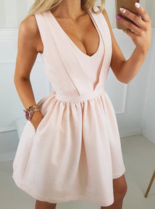 Pearl Pink A-Line V-Neck Cut Out Open Back Satin Short Prom Dress with Pockets, OC131