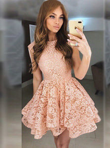 Perfect Look Coral A-Line Round Neck Lace Short Prom Dress, OC135