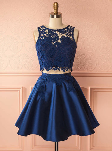 Dark Blue Two Piece Bateau Lace Appliques Satin Short Prom Dress, OC137