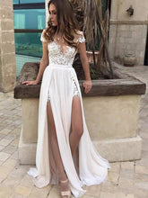 A-Line Lace V-Neck Split Two Side Chiffon Princess Wedding Dresses OW145