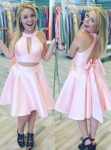 Pink Two Piece Satin Short Open Back Prom Party Dress With Bowknot, OC138