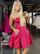 Fuchsia A-Line Strapless Satin Homecoming Dress with Beading Pockets, OP228