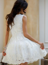 A-Line V-Neck Little White Dress, Tulle Homecoming Dress with Appliques, OP234