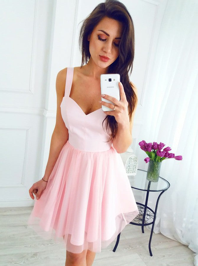Cheap Pink A-Line V-neck Straps Short Tulle Prom Party Dress, OC148