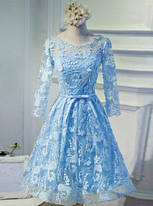 Bateau 3/4 Sleeves Keyhole Back Blue Lace Homecoming Dress, OM107