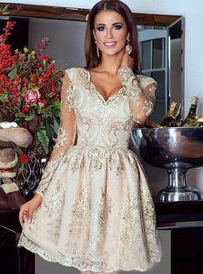 A-Line V-Neck Lace Long Sleeves Short Tulle Homecoming Dress, OM108