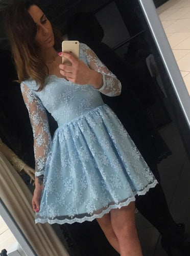 Blue A-Line V-Neck Long Sleeve Short Lace Homecoming Dress, OM112