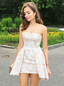 Elegant Strapless Pleated Lace Short/Mini Party Dress, OM111