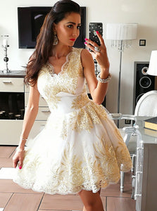 A-Line V-Neck Gold Appliques Short Tulle Homecoming Dress, OM113