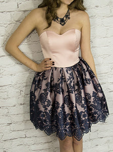 Sweetheart Blush Satin Homecoming Dress with Navy Appliques, OM114