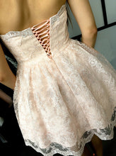 Chic Sweetheart Nude Short Lace A-Line Homecoming Dress, OM115