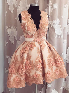 Blush Plunge Neckline Tulle Homecoming Dress with Florals Applique Beading OC107