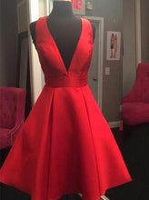Plunging Neckline Open Back Short Satin Red Cocktail Party Dress with Bowknot OC108