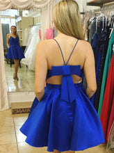 Royal Blue Spaghetti Straps Satin Bowknot Back Short Party Dress with Pockets OC109