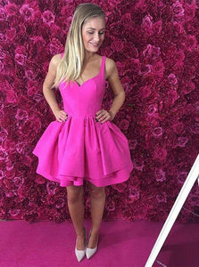 Sexy Eyelet Criss-Cross Back Fuchsia Short Satin Party Dress With Layers OC110