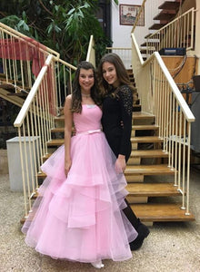 Charming Pink Tulle Long Prom Dresses, Strapless Sweet 16 Dress PO057