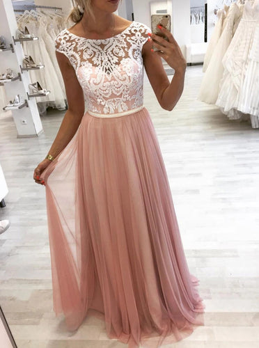 A-line Round Lace Long Prom Dresses, Pink Tulle Evening Dress PO058