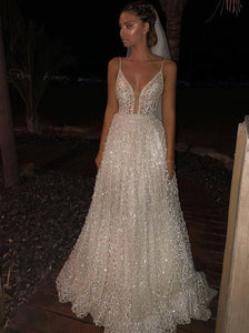 Sparkle Deep V Neck Long Prom Dresses Sequined Wedding Dresses PO072