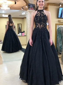 Halter Neckline Black Long Prom Dresses, Black Formal Evening Dress PO300
