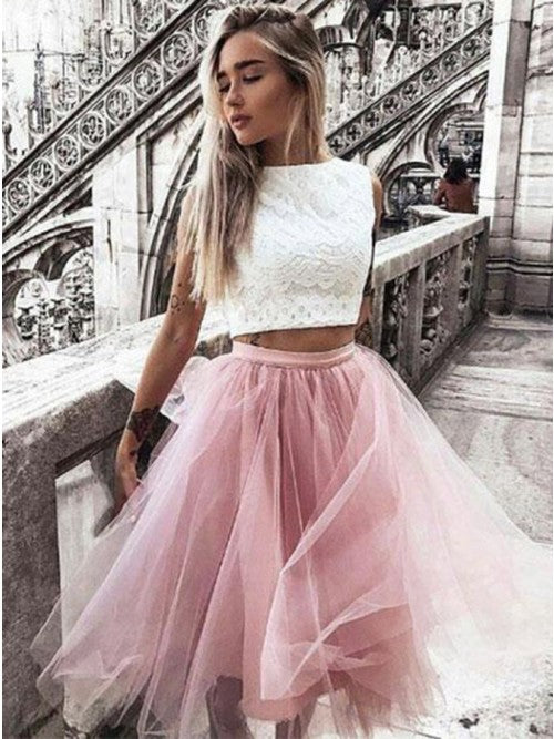 Elegant Tulle Two Piece Bateau Blush Homecoming Dress OM127